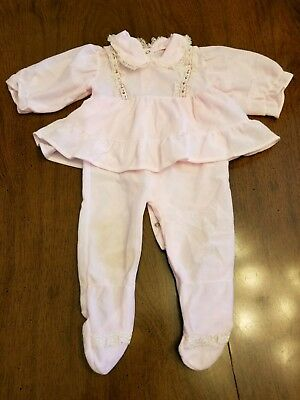 Vtg Baby Girl Pink Sleepwear Pajamas  Clothes Set  Romper Jumpsuit with Ruffle