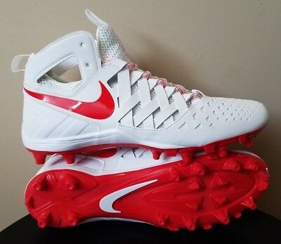 Mens Nike Huarache Lacrosse Cleats White Red Size 11.5 Waffle Design Brand New