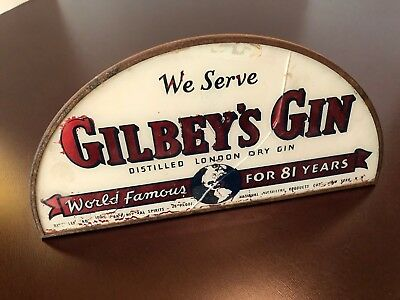 Antique / Vintage Gilbey's Gin Free Standing Counter Top Bar Store Old Sign 1930