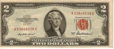 1953-A $2 US  Note, Red Seal, High Grade Note  (J-59)