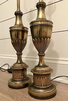 Beautiful Vintage Pair of Stiffel Brass Hollywood MCM Candlestick Lamps Set