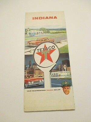 Vintage 1962 TEXACO Indiana State Oil Gas Service Station Road Map