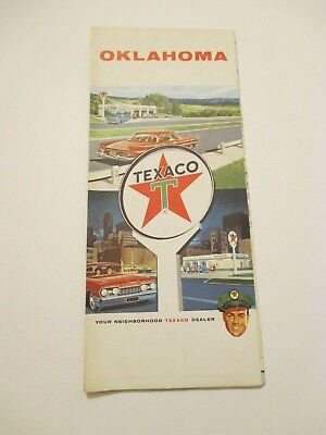 Vintage 1961 TEXACO Oklahoma State Oil Gas Service Station Road Map