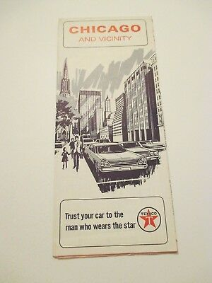 Vintage 1966 TEXACO Chicago Illinois Oil Gas Service Station Road Map