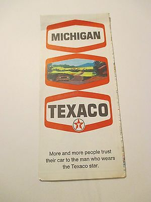 Vintage 1970 TEXACO Michigan Oil Gas Service Station State Road Map