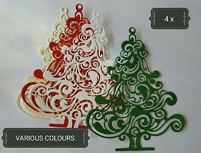 Ornate Christmas Tree Paper Die Cuts x4 Scrapbooking Card Topper Embellishment