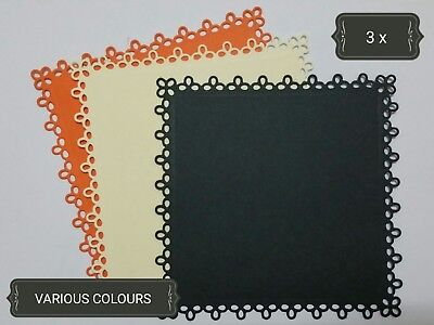 Simple Square Large Paper Die Cuts x3 Scrapbooking Card Topper Embellishment