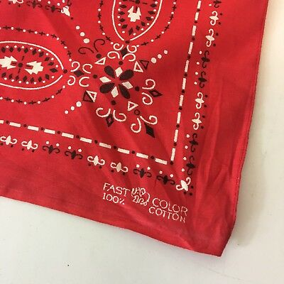 Vtg Bandana Elephant Trunk Up Fast Color Deadstock Persian Red Mint Condition