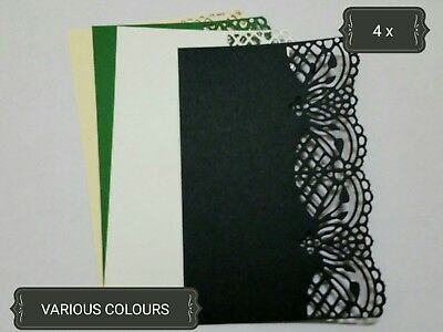 Lace Edge Rectangle Paper Die Cuts x4 Scrapbooking Card Topper Embellishment