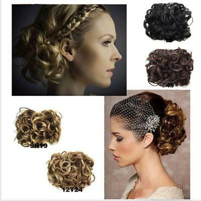 New Wavy Curly Bun Cover Hairpiece Clip in Scrunchie Hair Extensions Ponytail D