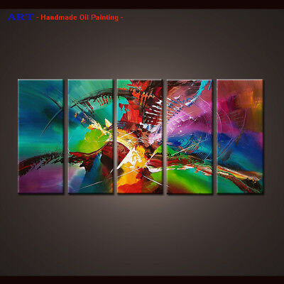 Hand-painted canvas 5 Panel Framed Wall Art Modern Abstract oil painting Color