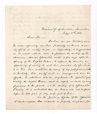 CRYSTAL PALACE + 1853 AMA Convention, SURGEON Samuel D. Gross SIGNED Letter ALS