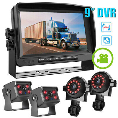 """9"""" Quad Split Monitor Screen Rear View Back Up Camera System For Bus Truck Rv Ag"""