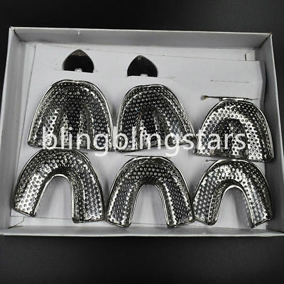 Upper/Lower Srainless Steel Dental Autoclavable Metal Impression Trays S/M/L