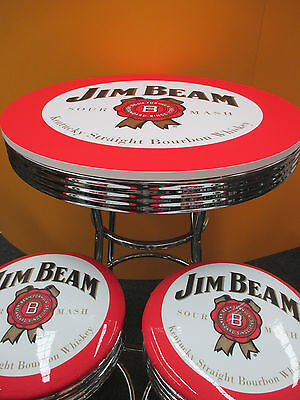 Jim Beam  Bar Set  2 X  Chrome Gas Lift Stools & Bar Table