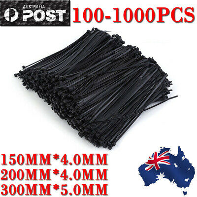 100-1000PCS Cable Ties Zip Ties Nylon UV Stabilised  Bulk Black Cable Tie OZ