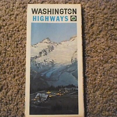 Vintage 1969 State Highway Commission - Washington State Highways Map - Used/GC