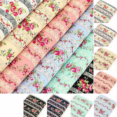 Cotton Fabric FQ Rose Floral Lace Stripe Print Retro Quilting Clothes Craft VK95