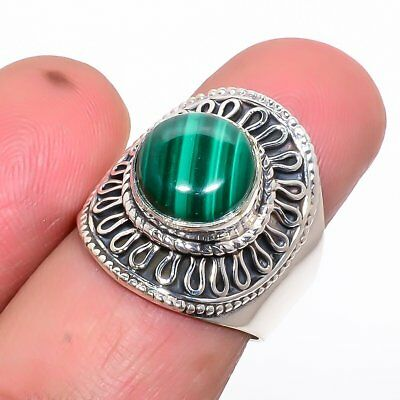 Russian Malachite Vintage Style 925 Sterling Silver Ring 8(237-38) 38