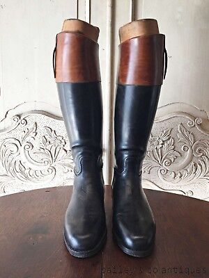 French Vintage Boots Tan + Black Leather with Embauchoirs - OF551