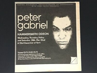"""Peter Gabriel 1978 Original 6X6"""" Concert Appearance Ad At Hammersmith Odeon"""