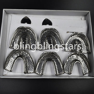 Dental Autoclavable Metal Impression Trays Perforated Stainless Upper/Lower SML