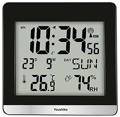 Large Jumbo LCD Radio Controlled Silent Wall Clock Official UK & Ireland Version