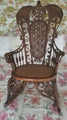 Vintage Antique Victorian Stick & Ball Wicker Rocker Rocking Chair (Delivery)