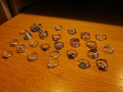 JOB LOT 25 STERLING SILVER 925 Rings mixed stones