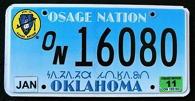 """OKLAHOMA """" OSAGE NATION TRIBE - TRIBAL SEAL """" OK Indian Specialty License Plate"""