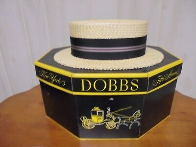 Excellent Vintage Men's Dobbs Straw Fifth Avenue Boater Hat with Box