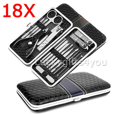 18Pcs Manicure Pedicure Set Stainless Nail Clippers Kit Cuticle Grooming Beauty