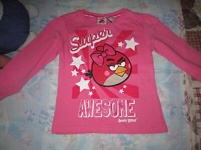 superbe haut tee-shirt neuf manches longues fille 2 ans angry birds