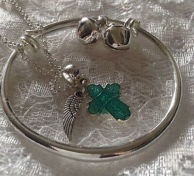 """925 Baby/child Plain Bangle+sterl Sil 16""""chain&enamel Cross+angle/Wing/In A Box"""