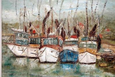 Old Oil Painting Famous Impressionist Artist George Lawrence Mooloolaba Boats