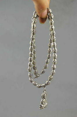 Collection Decoration Handmade Miao SIlver Carve Buddha & Bead Usable Necklace