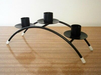 Funky Retro Vintage Black Metal Candelabra Three Candle Holder Candlestick