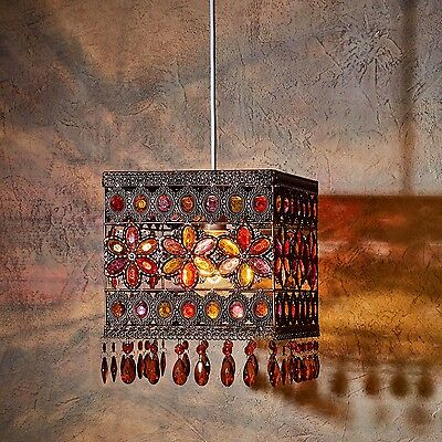 Vintage Colourful Jewel Brass Metal Moroccan Style Square Light Shade Pendant