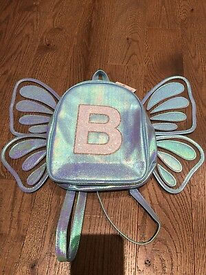 New girls Justice mini backpack butterfly wings Initial Letter B blue sequins