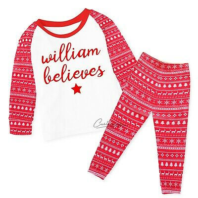 Personalised Christmas Pyjamas Baby Kids Any name believes, 6-12mths to 5-6yrs