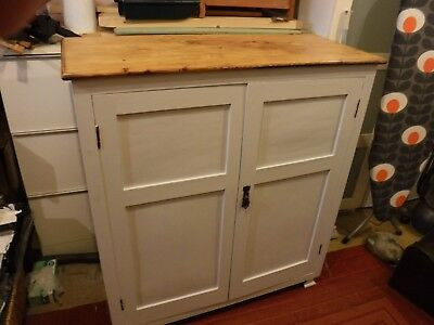 Antique very old cupboard, waxed pine top painted grey