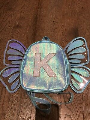 New girls Justice mini backpack butterfly wings Initial Letter K blue sequins