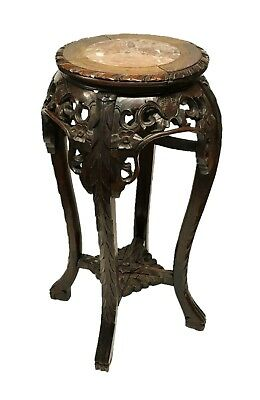 19th Century Chinese Stand in Detailed Carved Rosewood with Marble Top Antique