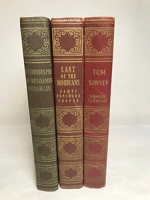 Lot of 3 Vintage Art-Type Ben Franklin Tom Sawyer Last Of The Mohicans