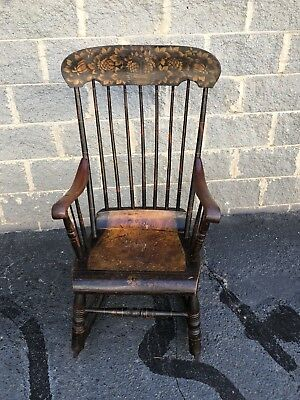 Antique Stenciled & Painted Rocking Chair