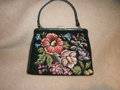 Petit Point Gobelin Handtasche - Aufwendige Stickerei - Vintage - Superzustand!