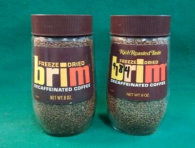 Vintage Freeze Dried Coffee Brim 2 Different Sealed Glass Jars
