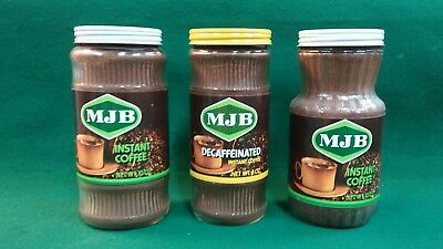 Vintage Freeze Dried Coffee MJB   3 Different Sealed Glass Jars