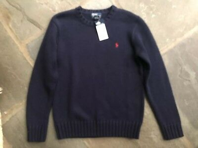 Polo Ralph Lauren Youth Sweater Size M 100% Cotton Navy Blue