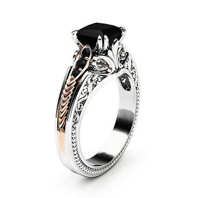 Gorgeous Women 925 Silver Wedding Rings 2.10ct Black Sapphire Ring Size 6-10